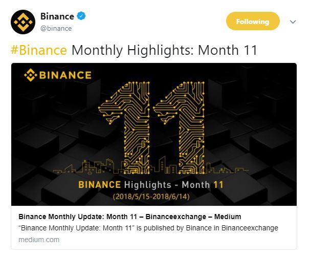 Binance monthly highlights | Source: Twitter