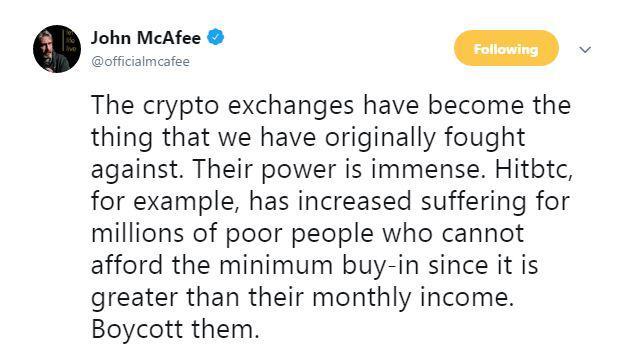 John McAfee's tweet   Source: Twitter