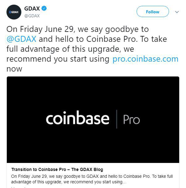 Coinbase announcement on GDAX page | Source: Twitter