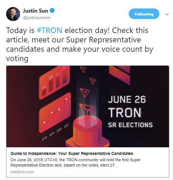 Justin Sun tweets about the election day   Source: Twitter