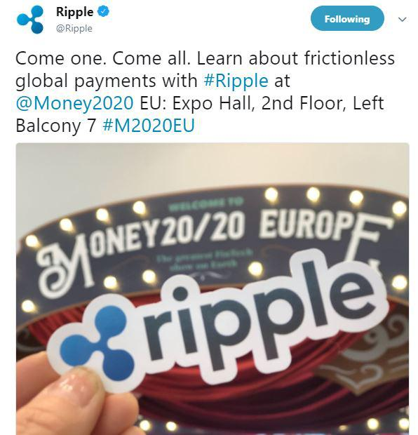 Ripple's announcement of their presence at the money20/20 conference