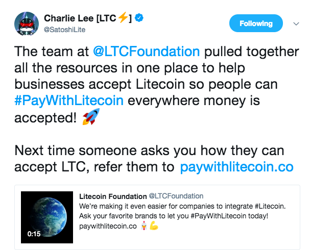 Charlie Lee tweets on PayWithLitecoin