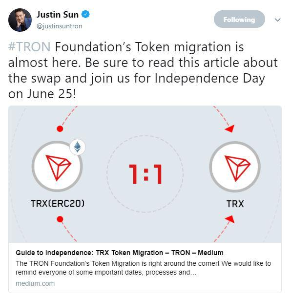 Justin Sun tweets guide to independence | Source: Twitter