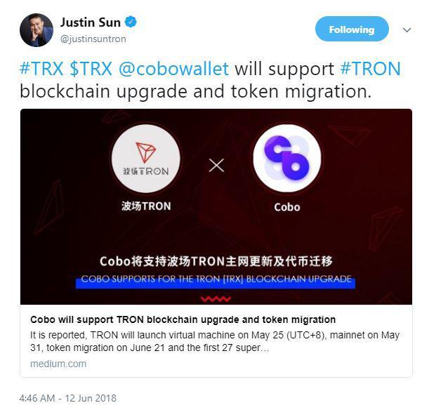Justin Sun's Tweet about Cobo alliance. Source: Twitter