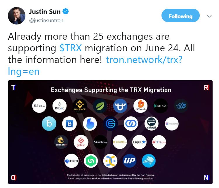 Tweet by Justin Sun