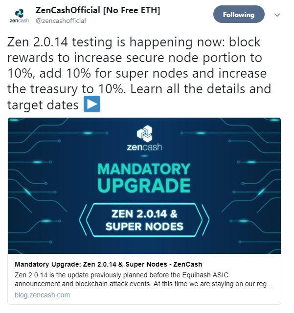 ZenCashOfficial announcement on Twitter page. Source: Twitter