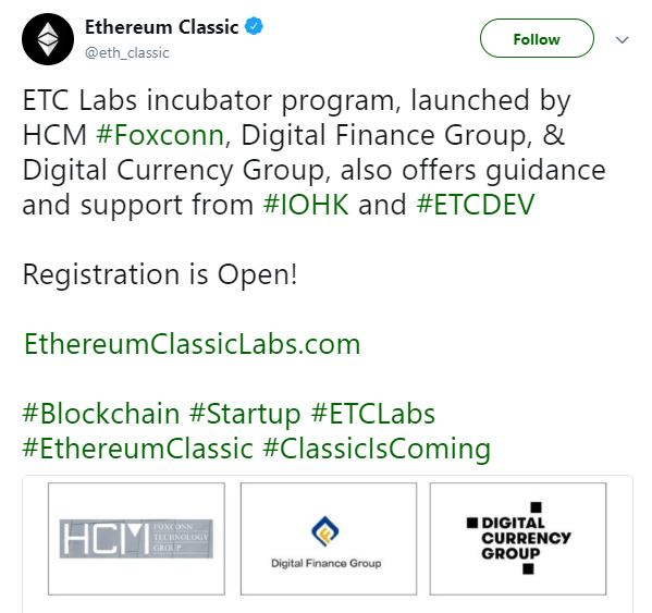 Ethereum Classic announcement on their Twitter page | Source: Twitter