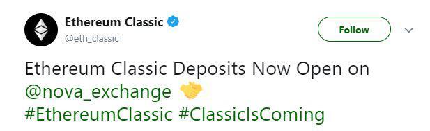 Ethereum Classic's tweet | Source: Twitter