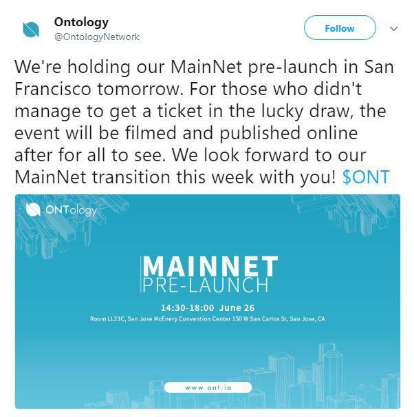 Ontology mainnet announcement | Source: Twitter
