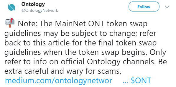 Ontology token swap update | Source: Twitter
