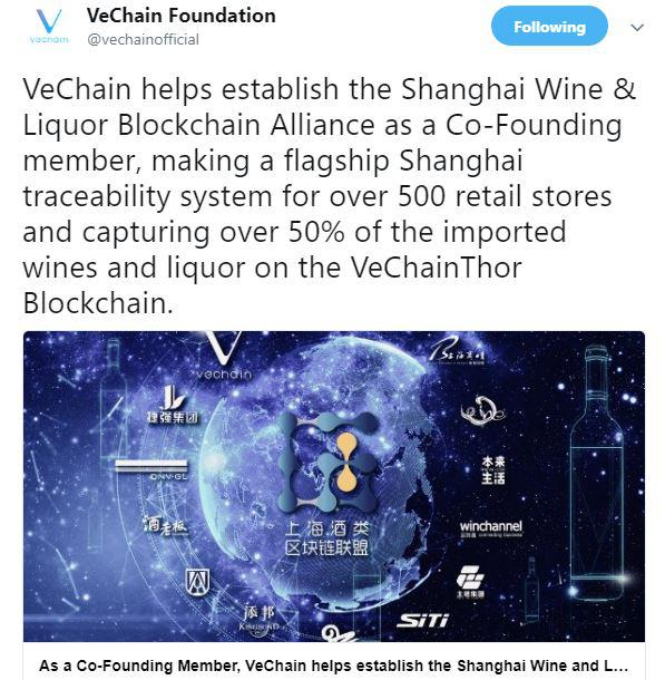VeChain's official announcement. Source: Twitter