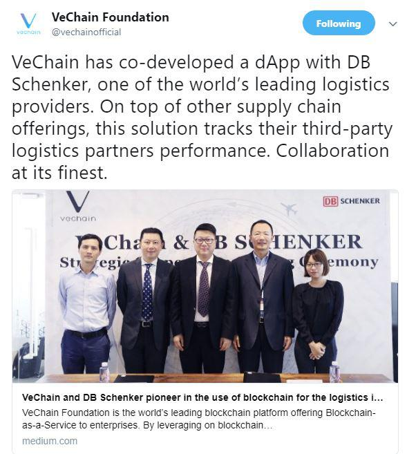 VeChain's Tweet on their official page. Source: Twitter.