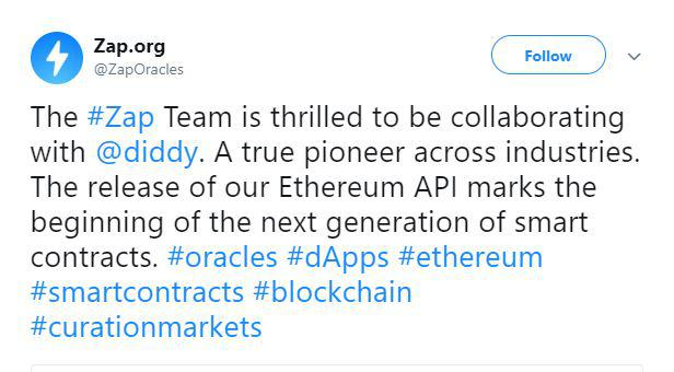 Zap team's tweet about the collaboration | Source: Twitter