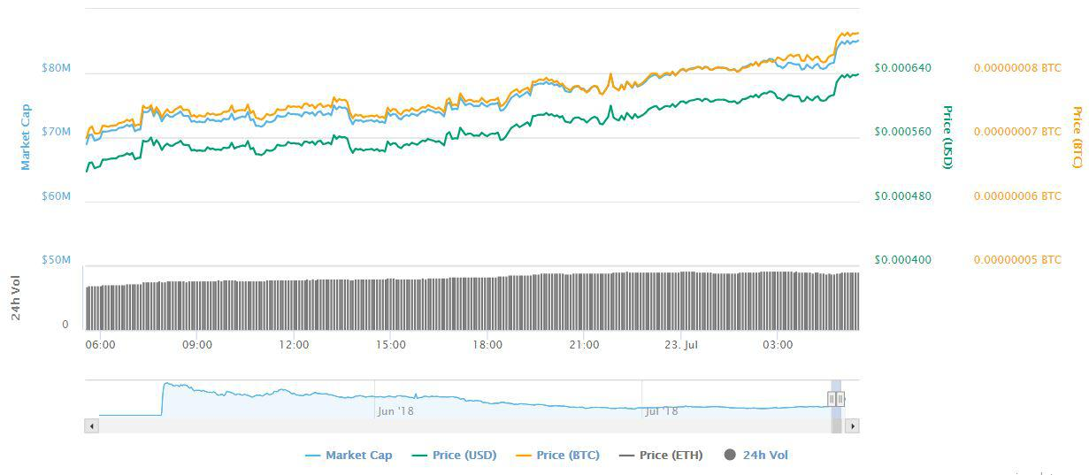 A look at Holo (HOT) jump the last 24 hours | Source: Coinmarketcap