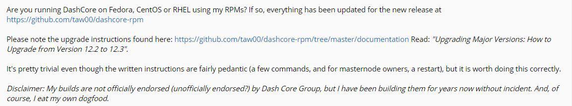 Update on Dash's forum
