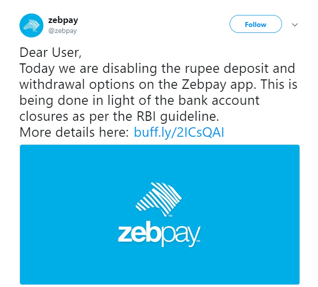 India's major Bitcoin exchange Zebpay stops trading in rupee amid banking freeze