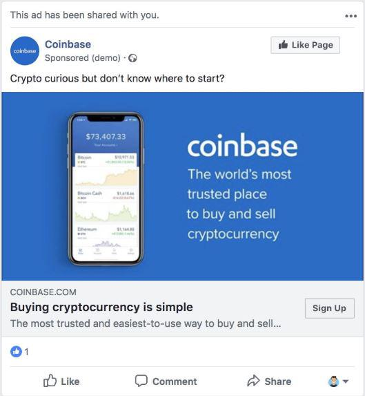 Coinbase ad on Facebook || Source: Twitter