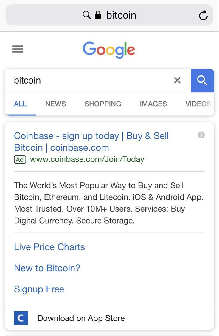 Coinbase ad on Google || Source: Reddit