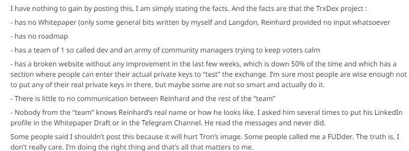 Grey's claims regarding the TrxDex || Source: Reddit
