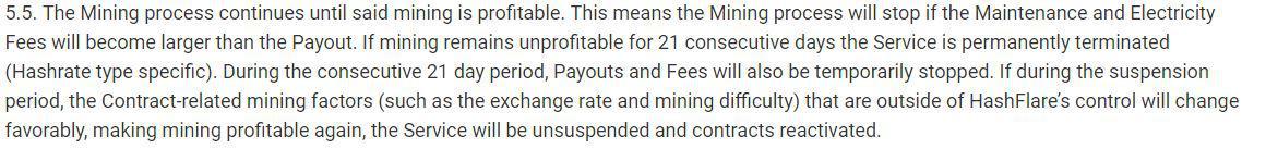 HashFlare's 5.5 Terms of Service || Source: HashFlare