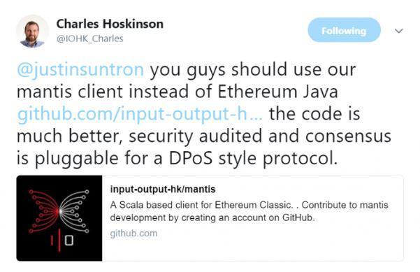 Charles Hoskinson's tweet | Source: Twitter