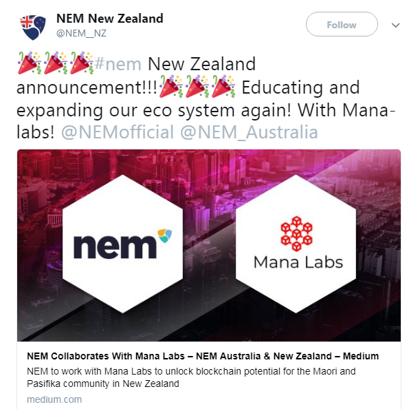 NEM New Zealand's Official Twitter announcement of the Mala Labs partnership | Source: Twitter