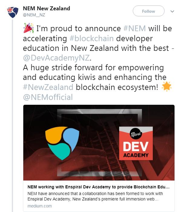 NEM New Zealand's collaboration announcement with Enspiral Dev Academy | Source: Twitter