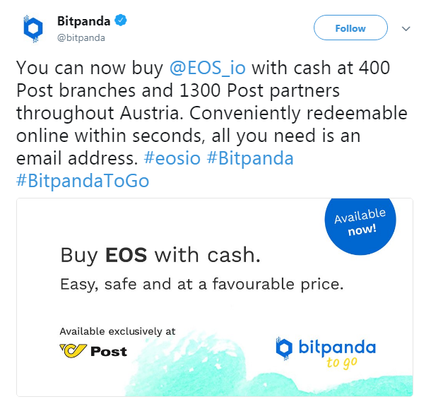 Bitpanda's official announcement of the EOS listing | Source: Twitter