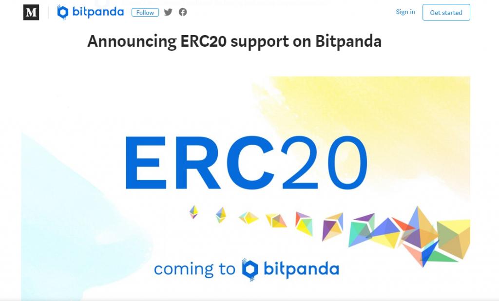 Bitpanda's announcement of their support of ERC20 | Source: Bitpanda Medium