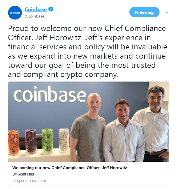 Coinbase's official Twitter announcement welcoming Jeff Horowitz | Source: Twitter