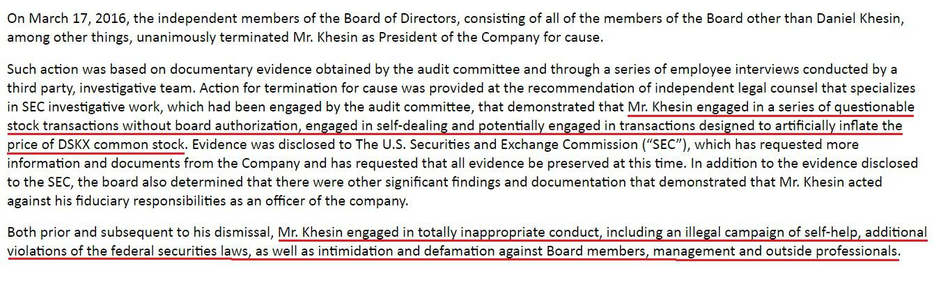 SEC press release regarding Daniel Khesin
