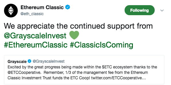 Ethereum Classic's tweet | Source: Twitter