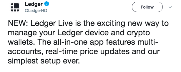 Ledger announcement on Twitter | Source: Twitter