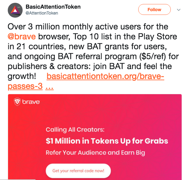 Basic Attention Token's post on Twitter | Source: Twitter