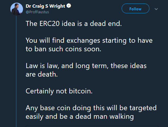 Craig Wright's opinion | Source: Twitter