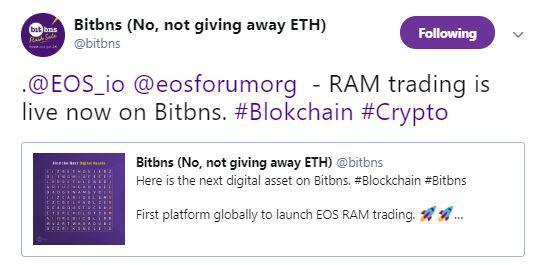 Bitbns' recent tweet   Source: Twitter