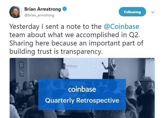 Tweet by Brian Armstrong || Source: Twitter