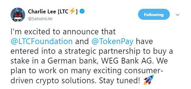 Charlie Lee's recent tweet   Source: Twitter
