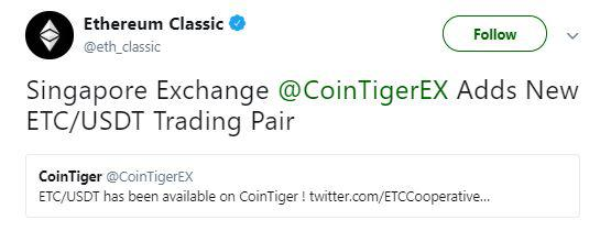 Ethereum Classic's tweet regarding CoinTiger listing | Source: Twitter