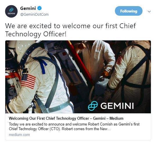 Gemini's tweet about CTO hiring   Source: Twitter