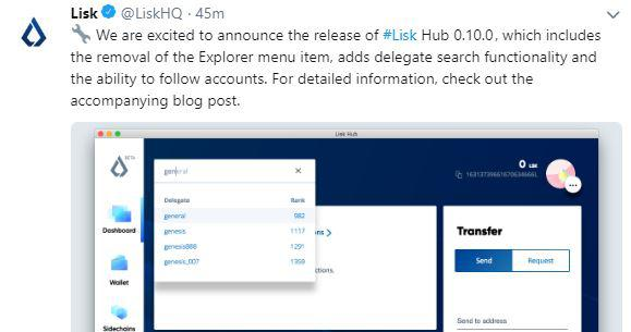 Lisk's recent tweet | Source: Twitter