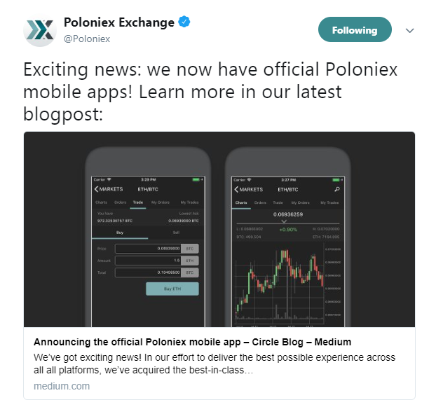 Poloniex Exchange official tweet about the launch of Poloniex mobile app | Source: Twitter