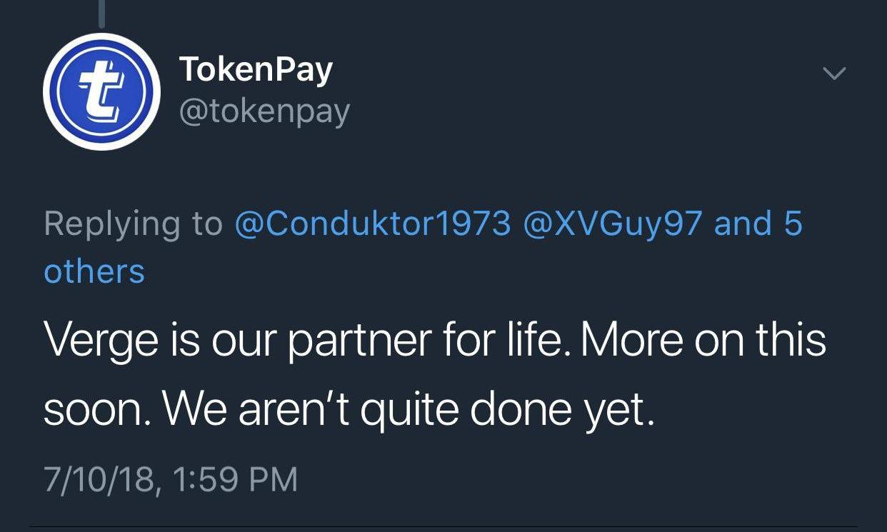 TokenPay's announcement | Source: Reddit [cropped]