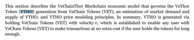 VTHO description | Source: VeChainThor Whitepaper