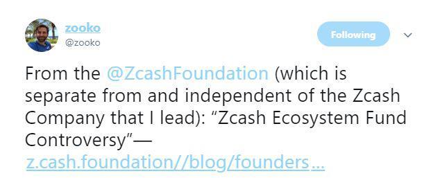 Zooko Wilcox's recent tweet | Source: Twitter