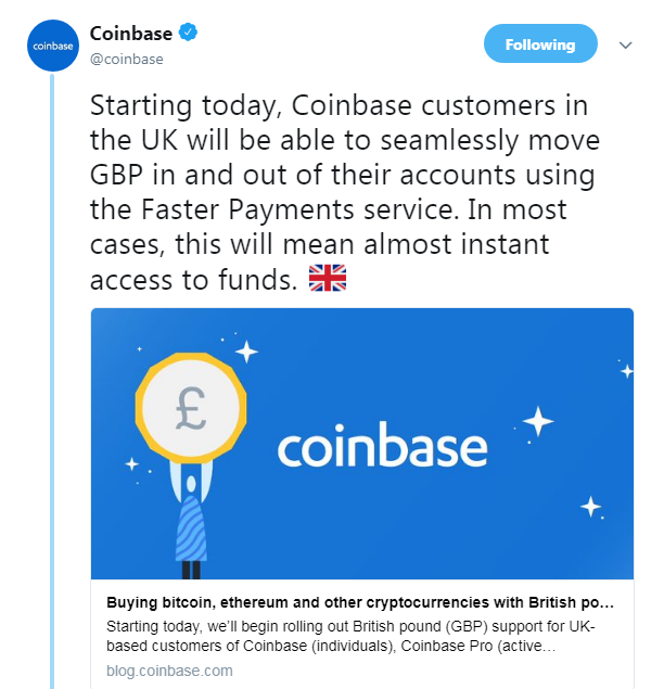 Coinbase's Official announcement regarding GBP support | Source: Twitter