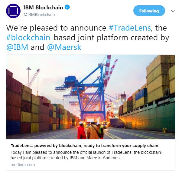 IBM Blockchain's official announcement | Source: Twitter