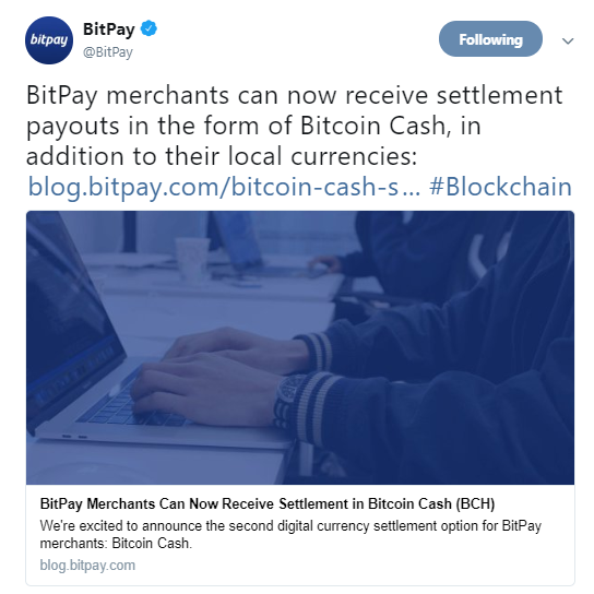 BitPay's official announcement on Twitter