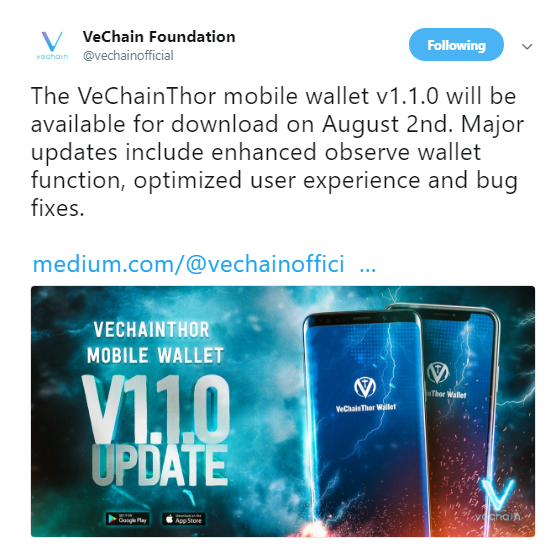 VeChain announces the launch of VeChainThor mobile wallet v1.1.0 update | Source: Twitter