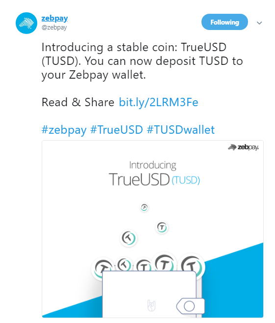 Zebpay launches TrueUSD [TUSD] | Source: Twitter